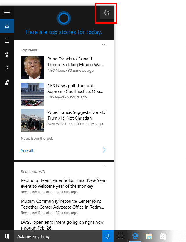 Music search button (top-right) in Cortana