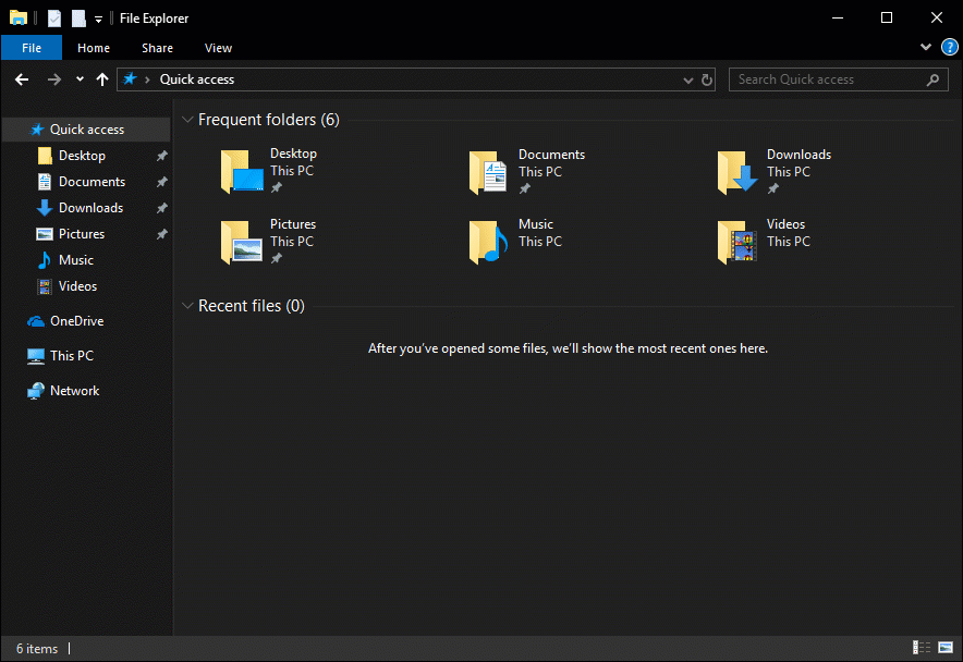 Screenshot of dark theme File Explorer, background is black with files in yellow icons