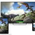 Three screens with same image -- dinosaurs -- on Windows 10 laptop, TV screen and mobile phone