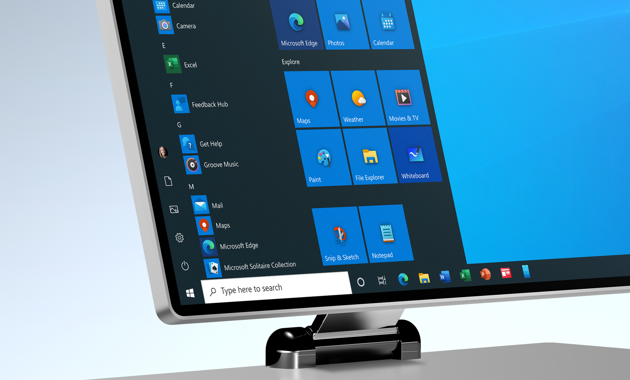 The Windows 10 Start menu showing many of the newly designed icons for the built-in apps.