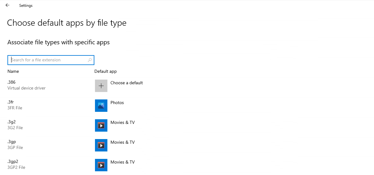 Showing the Choose default apps by file type Settings window, now with a search box.