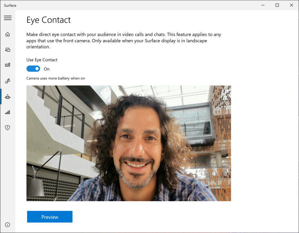 Eye Contact helps to adjust your gaze on video calls so you appear to be looking directly in the camera on your Surface Pro X.