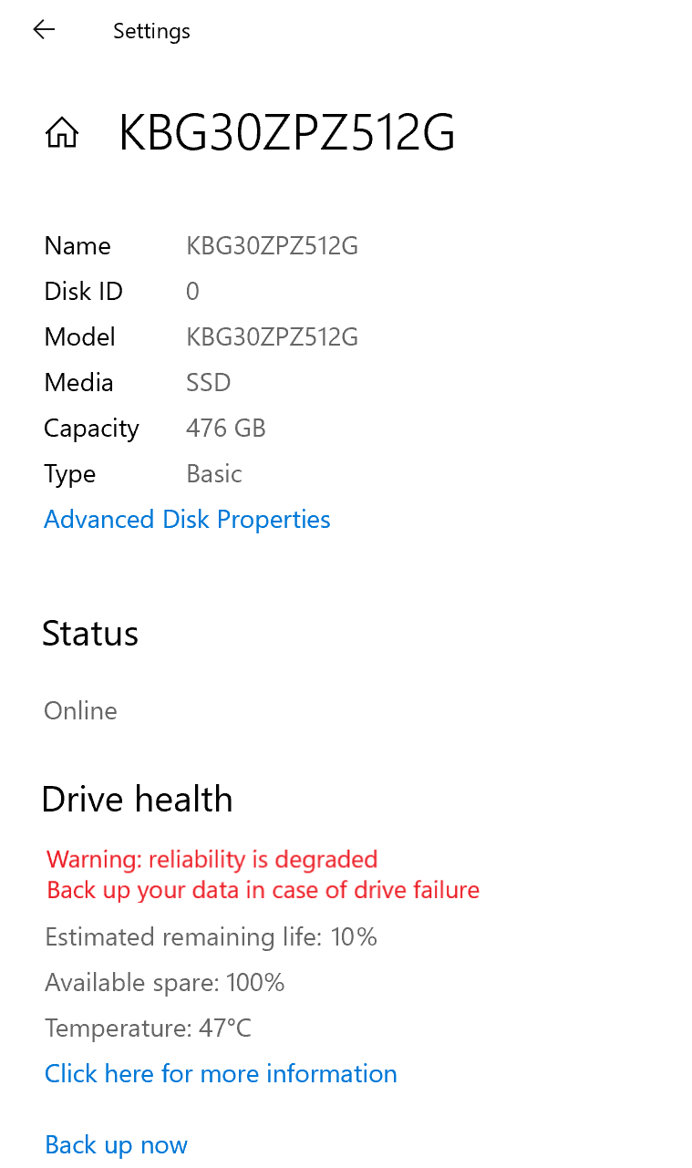 NVMe SSD properties page in Storage Settings, emphasis on the Drive health section, showing a drive health warning.