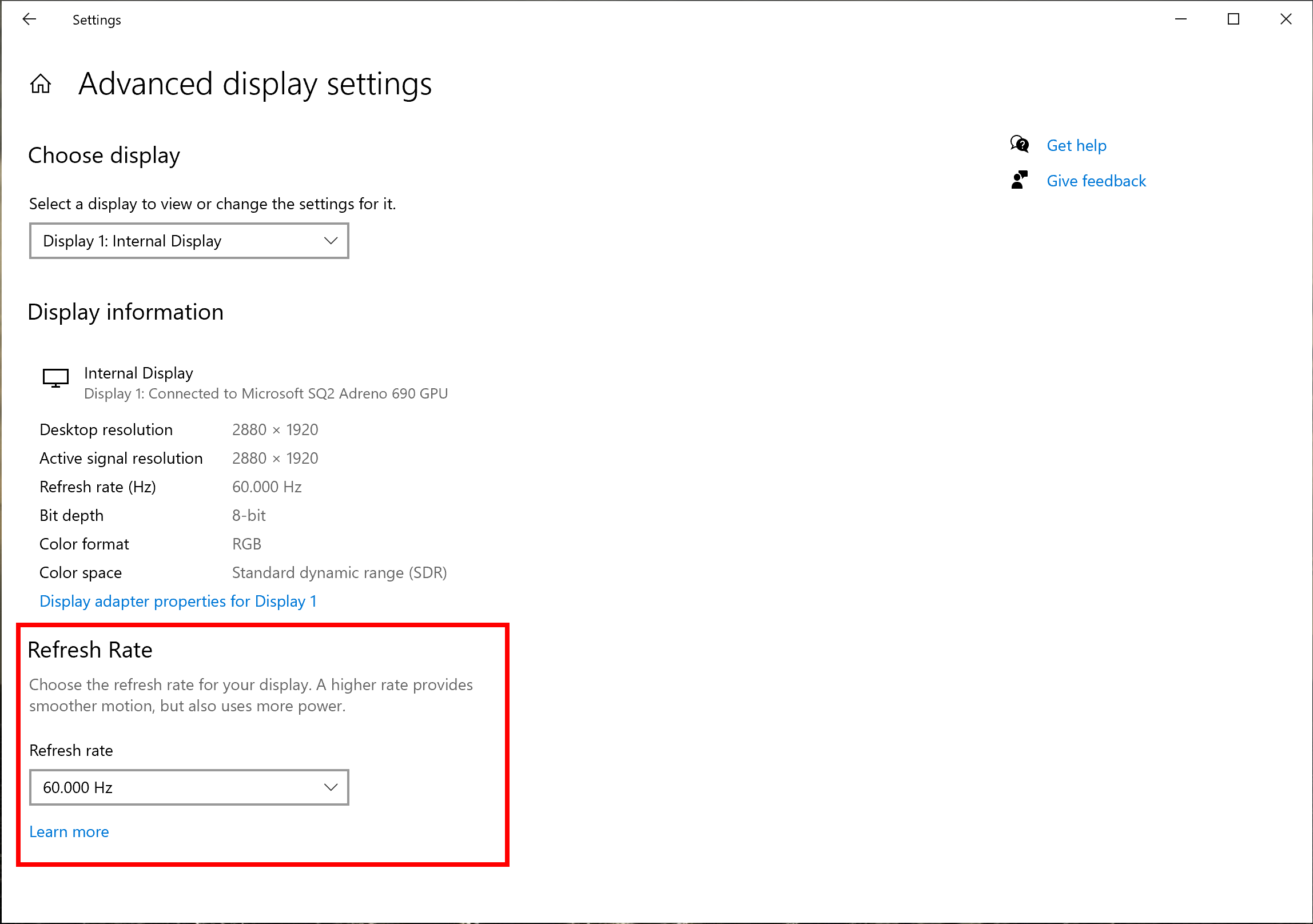 Showing the new refresh rate dropdown in Advanced Display Settings.