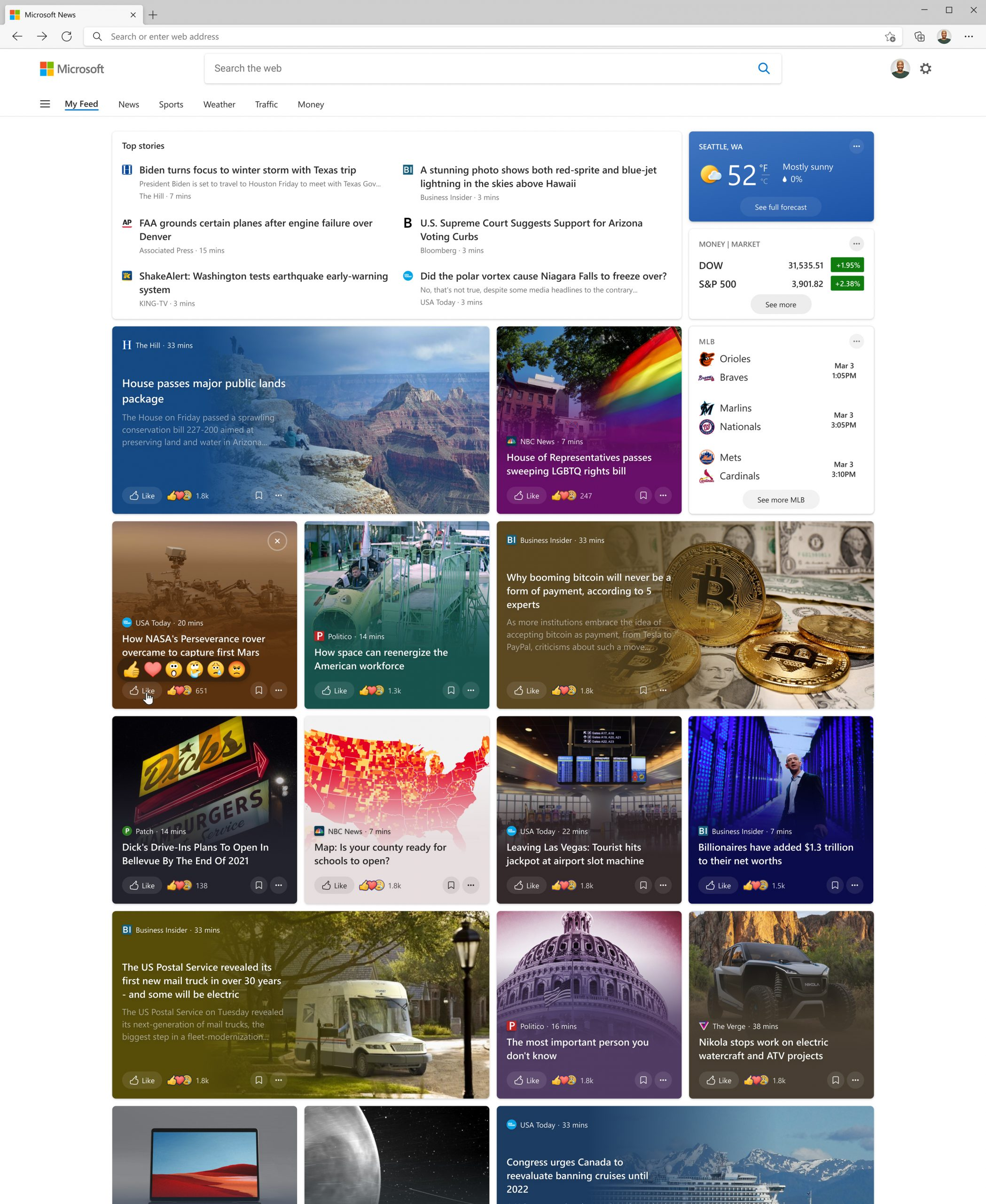 News and interests updated design on the web