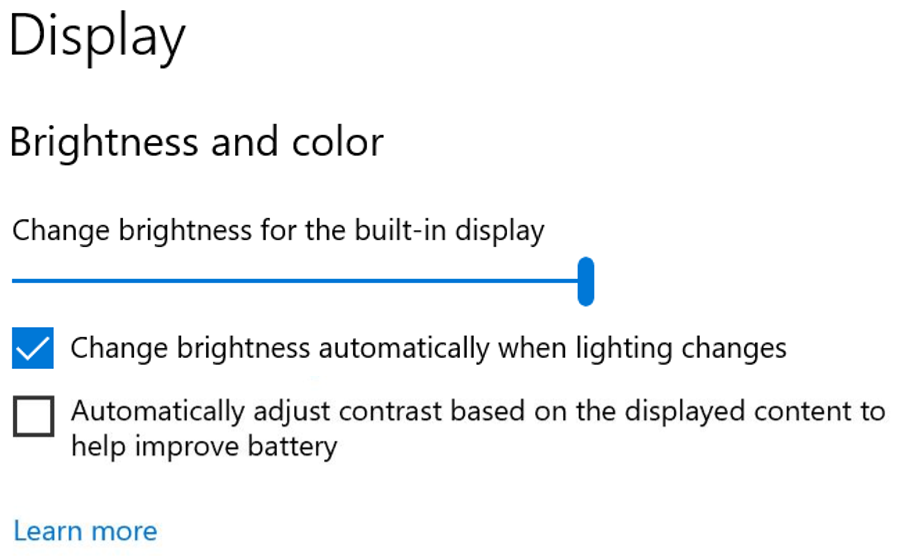 Windows Insiders can now disable CABC directly in the Display settings via Settings > System > Display.