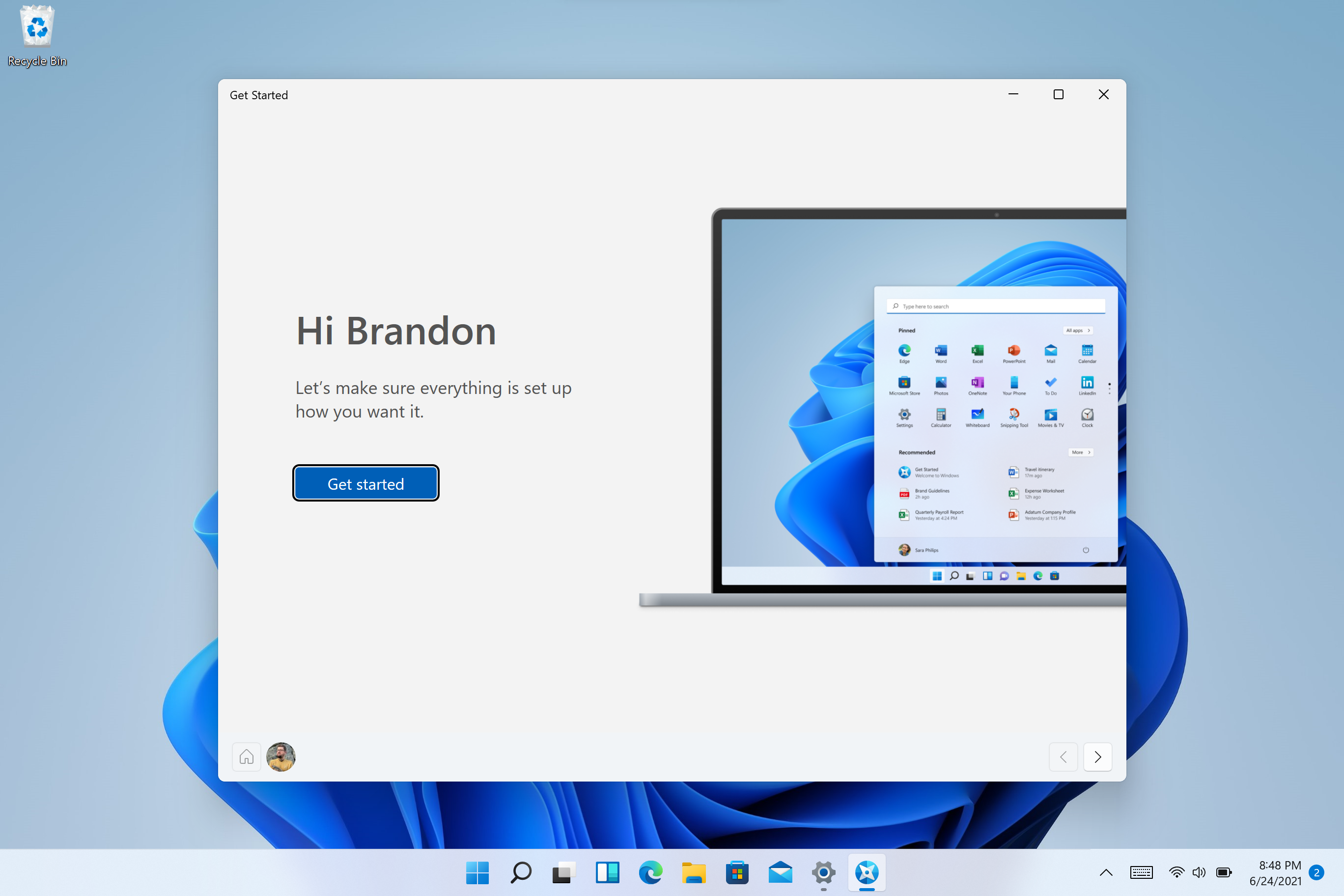 The new Get Started app will help you get started with a new PC.